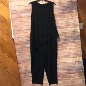 eloquii asymmetric ruffle front jumpsuit